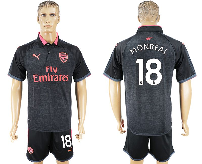 Men 2017-2018 club Arsenal second away 18 black soccer jersey