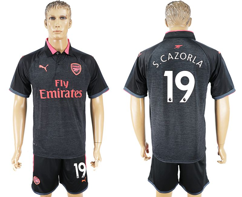 Men 2017-2018 club Arsenal second away 19 black soccer jersey