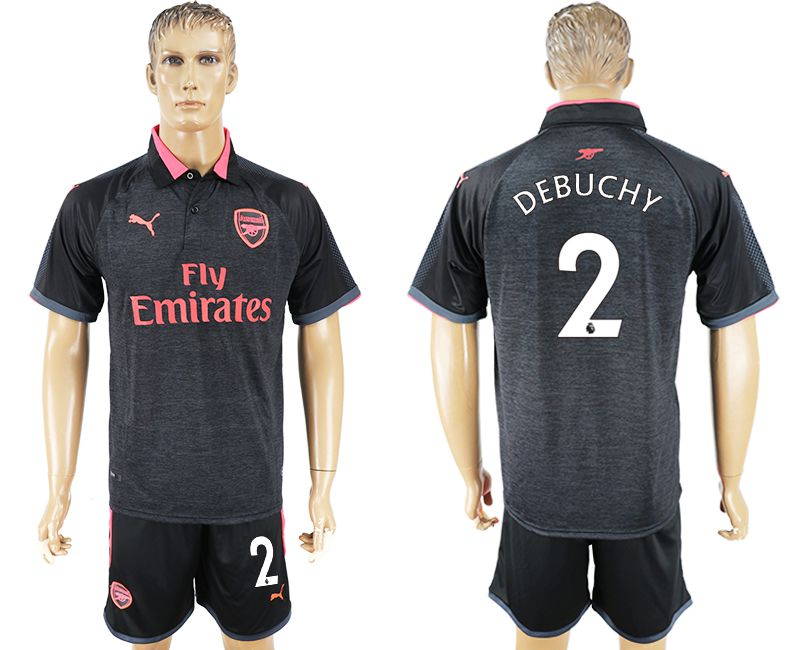 Men 2017-2018 club Arsenal second away 2 black soccer jersey