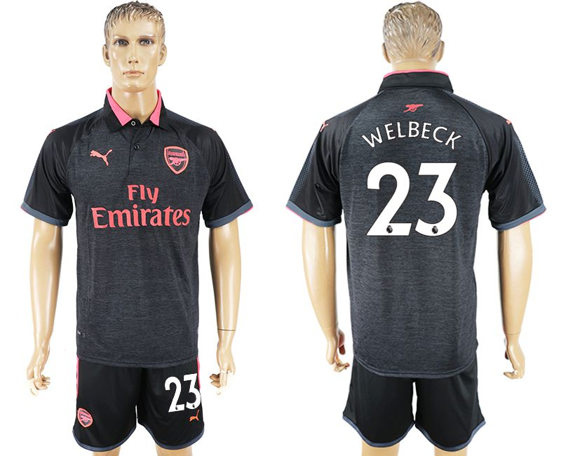 Men 2017-2018 club Arsenal second away 23 black soccer jersey