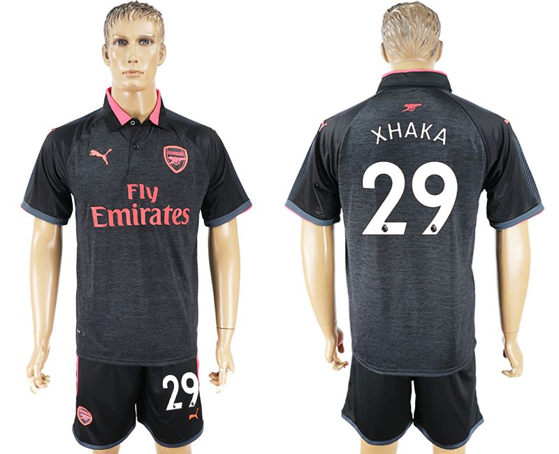 Men 2017-2018 club Arsenal second away 29 black soccer jersey
