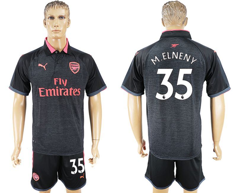 Men 2017-2018 club Arsenal second away 35 black soccer jersey