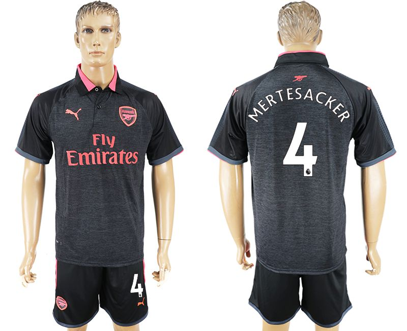 Men 2017-2018 club Arsenal second away 4 black soccer jersey