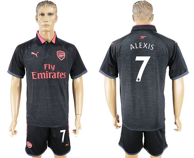 Men 2017-2018 club Arsenal second away 7 black soccer jersey