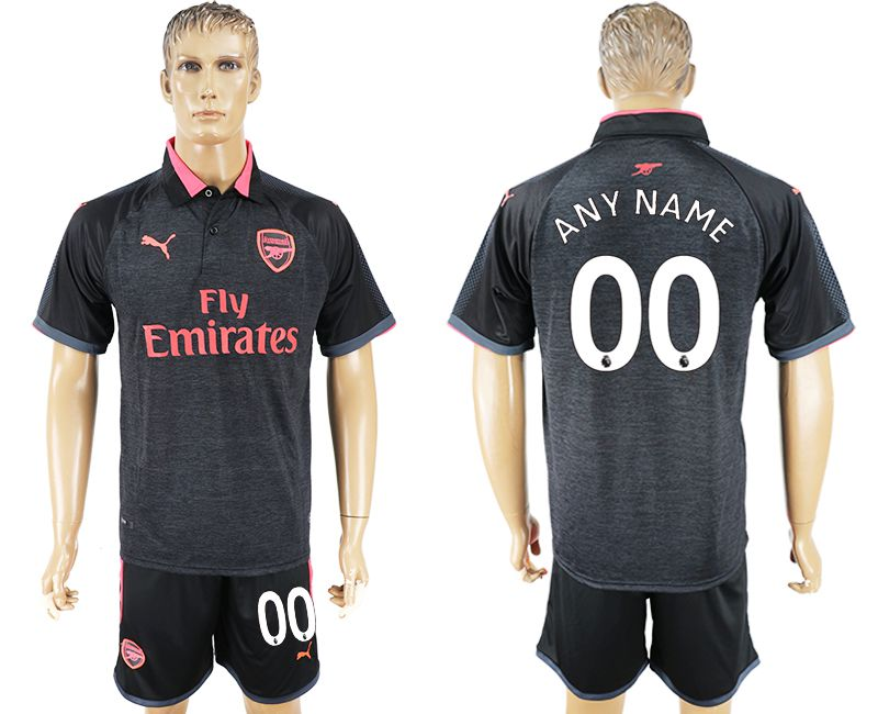 Men 2017-2018 club Arsenal second away customized black soccer jersey