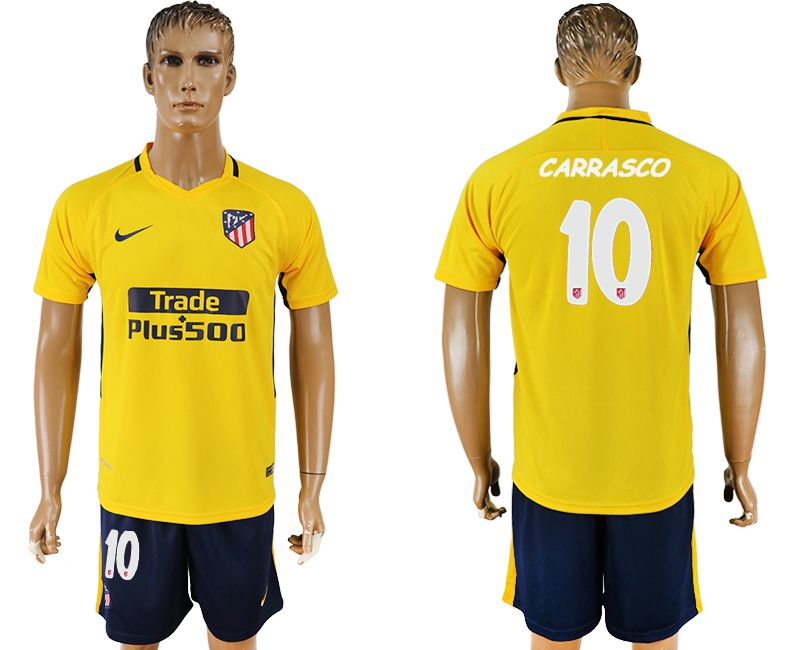 Men 2017-2018 club Atletico Madrid away 10 yellow soccer jersey