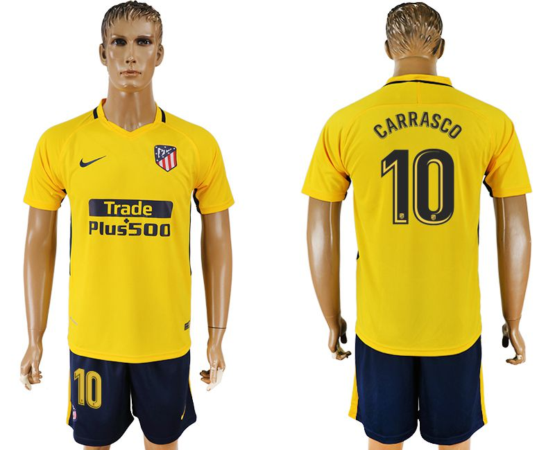 Men 2017-2018 club Atletico Madrid away 10 yellow soccer jersey3