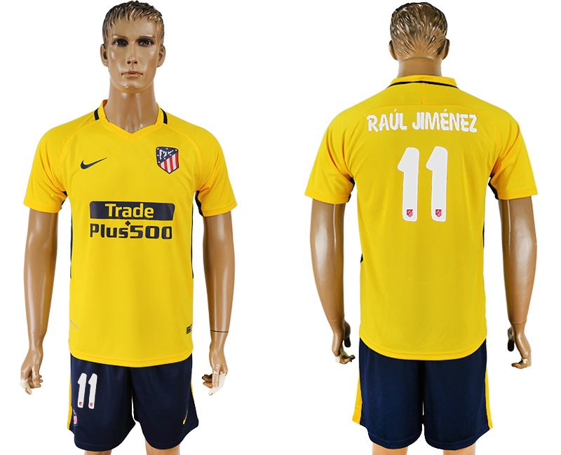 Men 2017-2018 club Atletico Madrid away 11 yellow soccer jersey