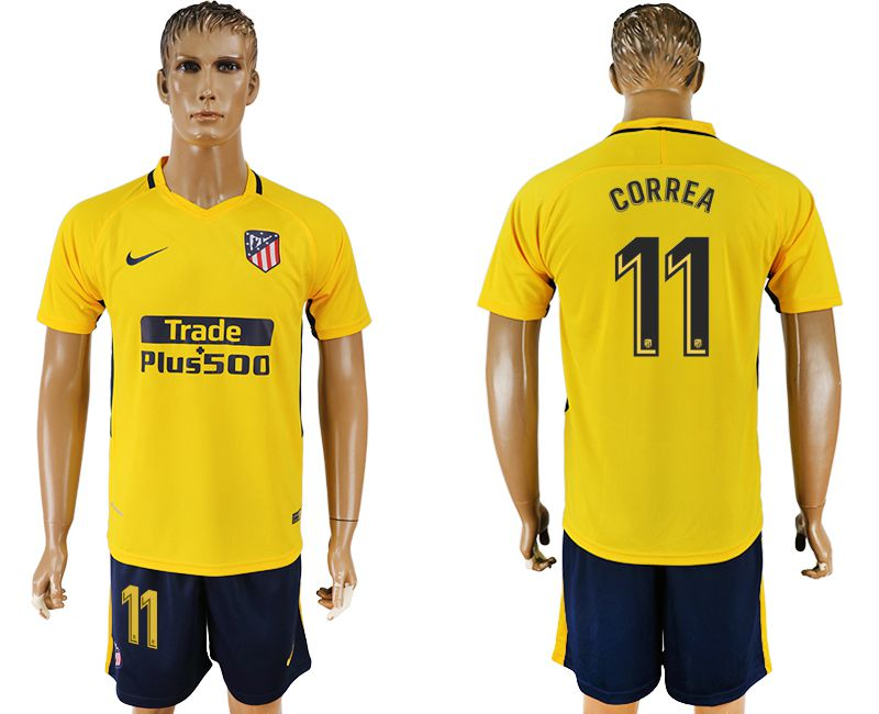 Men 2017-2018 club Atletico Madrid away 11 yellow soccer jersey1