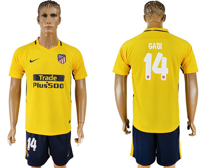 Men 2017-2018 club Atletico Madrid away 14 yellow soccer jersey