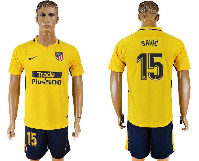 Men 2017-2018 club Atletico Madrid away 15 yellow soccer jersey1