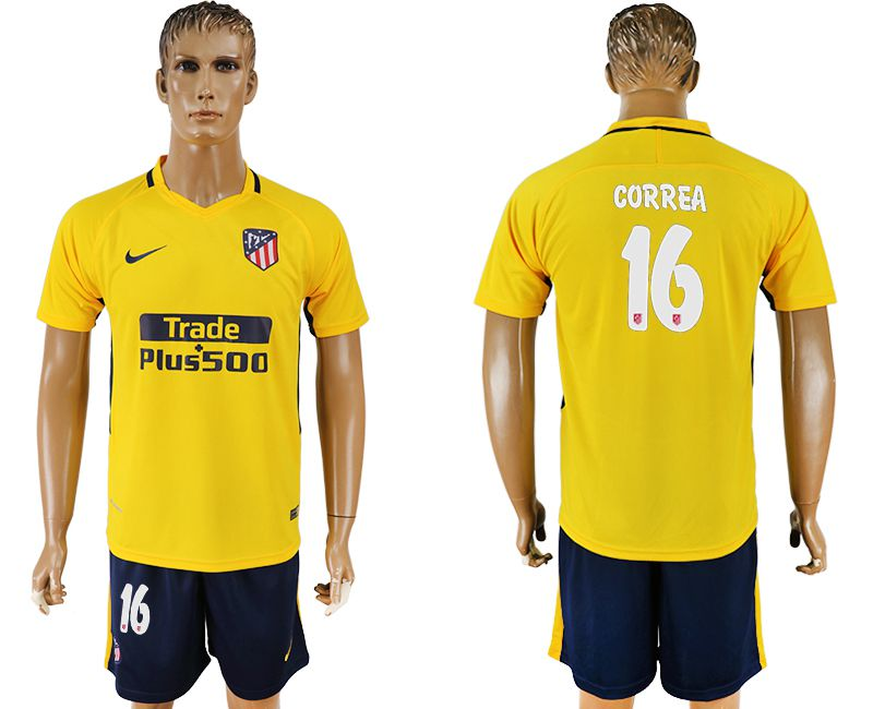 Men 2017-2018 club Atletico Madrid away 16 yellow soccer jersey