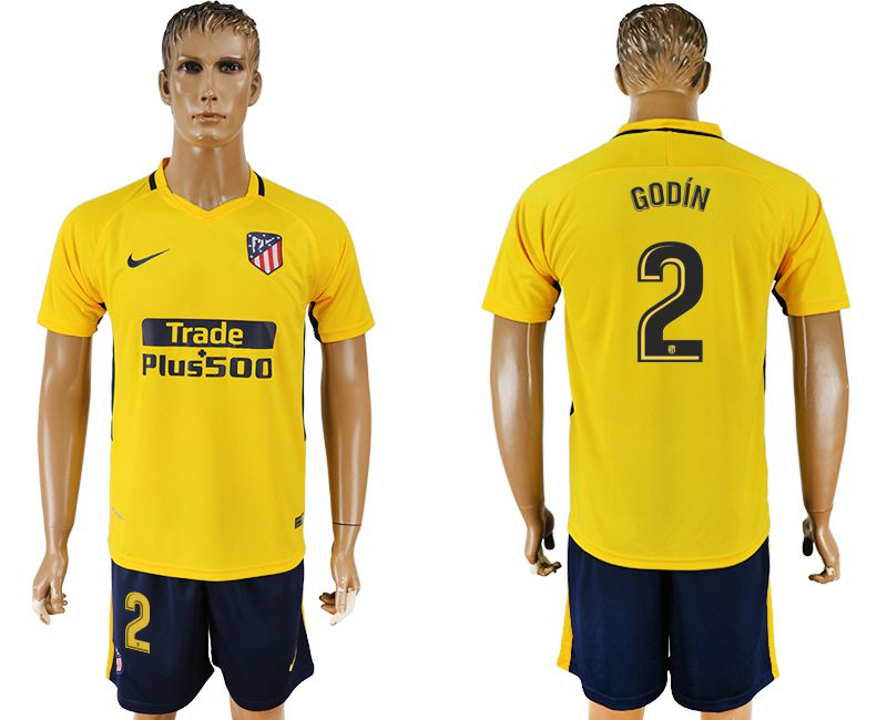 Men 2017-2018 club Atletico Madrid away 2 yellow soccer jersey1