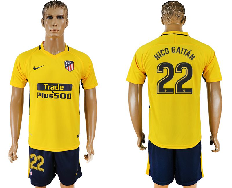 Men 2017-2018 club Atletico Madrid away 22 yellow soccer jersey1