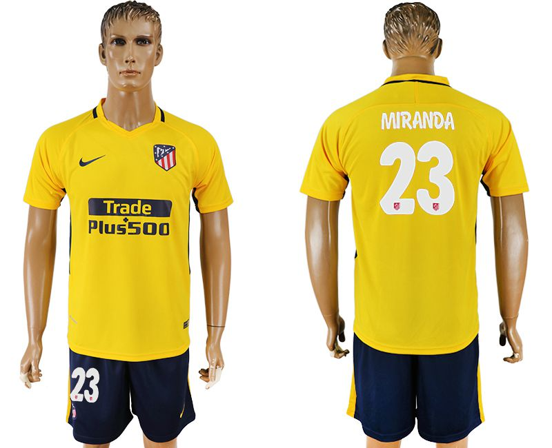 Men 2017-2018 club Atletico Madrid away 23 yellow soccer jersey