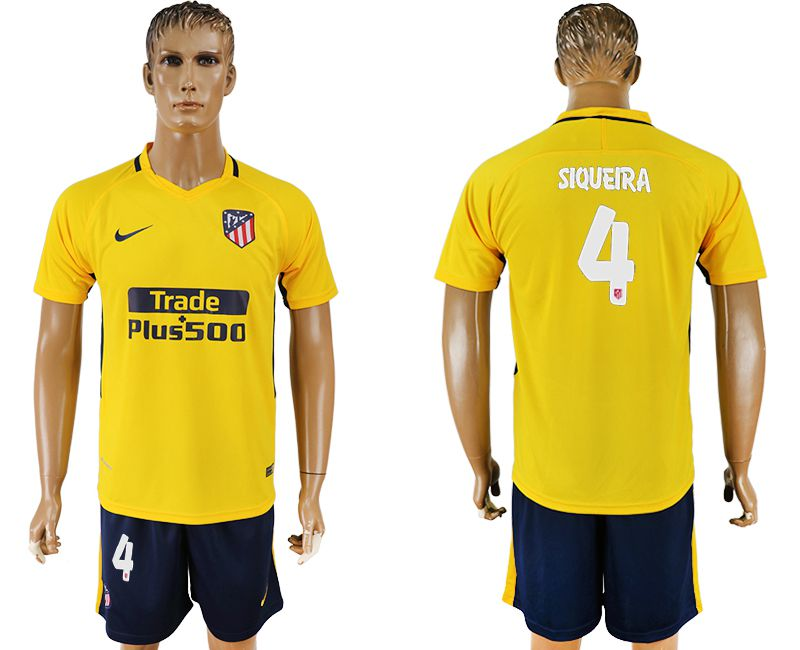 Men 2017-2018 club Atletico Madrid away 4 yellow soccer jersey