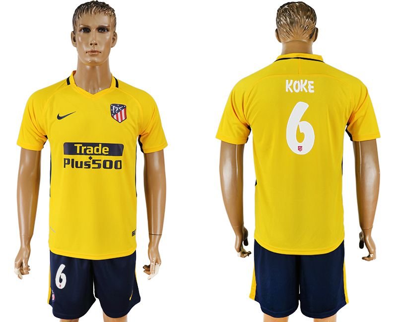 Men 2017-2018 club Atletico Madrid away 6 yellow soccer jersey
