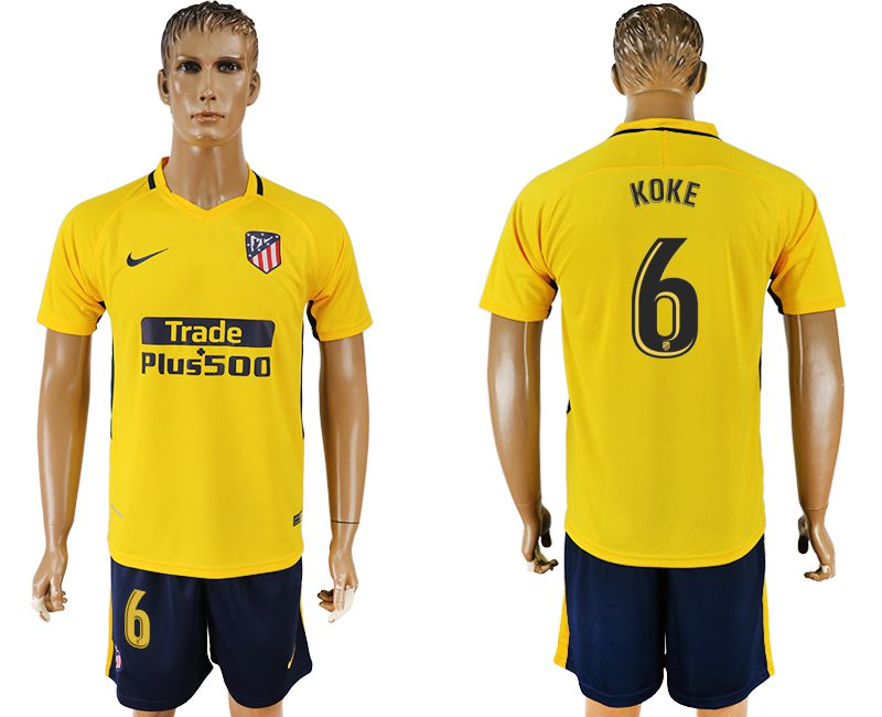 Men 2017-2018 club Atletico Madrid away 6 yellow soccer jersey1