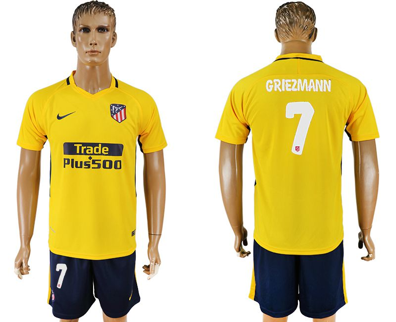 Men 2017-2018 club Atletico Madrid away 7 yellow soccer jersey