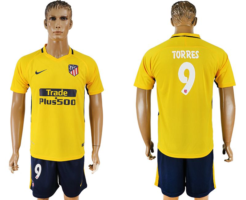 Men 2017-2018 club Atletico Madrid away 9 yellow soccer jersey