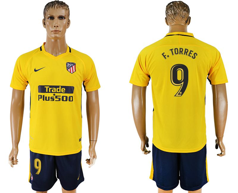 Men 2017-2018 club Atletico Madrid away 9 yellow soccer jersey1
