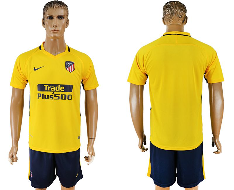 Men 2017-2018 club Atletico Madrid away blank yellow soccer jersey