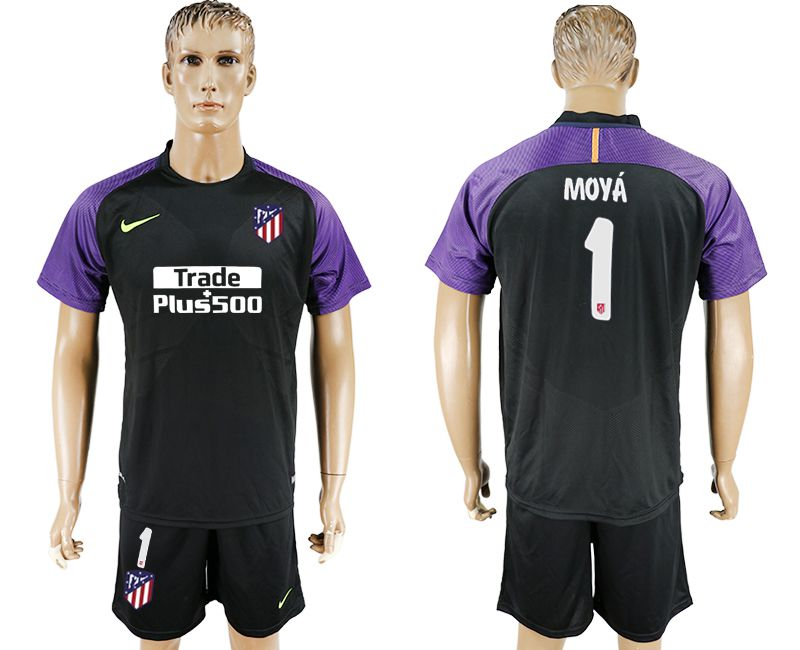 Men 2017-2018 club Atletico Madrid goalkeeper 1 balck soccer jersey