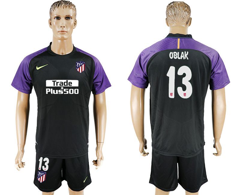 Men 2017-2018 club Atletico Madrid goalkeeper 13 balck soccer jersey