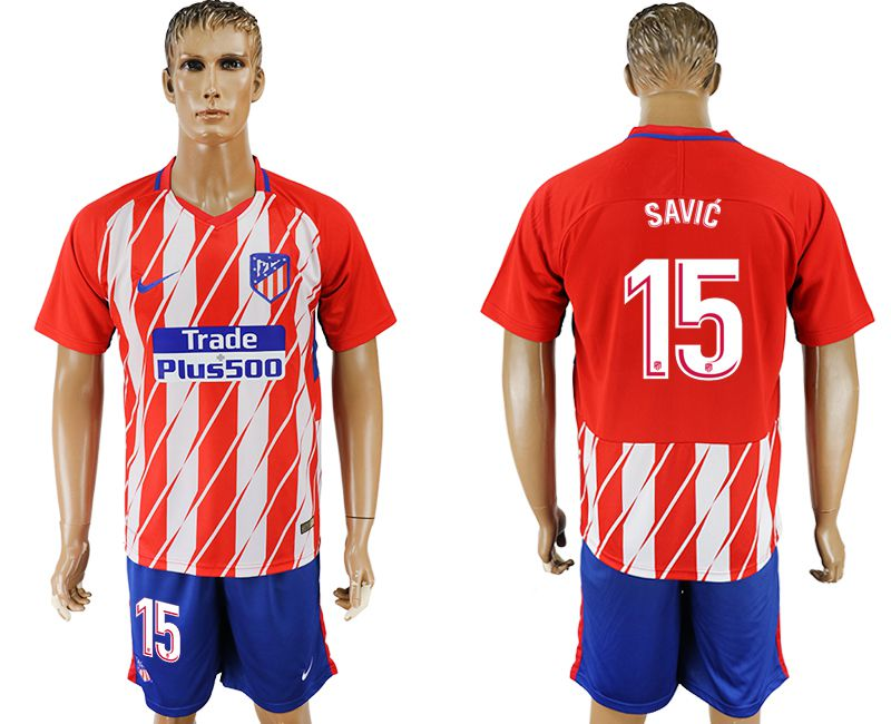 Men 2017-2018 club Atletico Madrid home 15 red soccer jersey