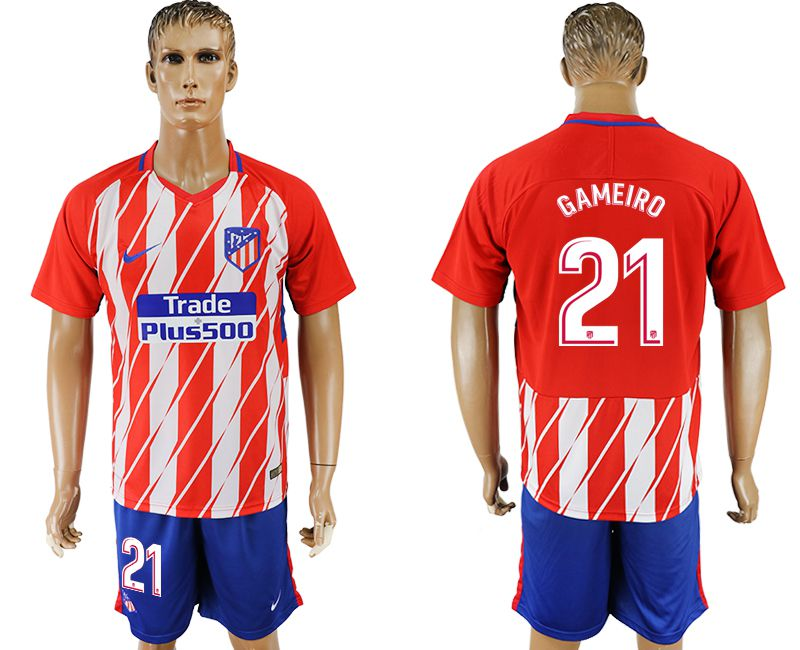 Men 2017-2018 club Atletico Madrid home 21 red soccer jersey