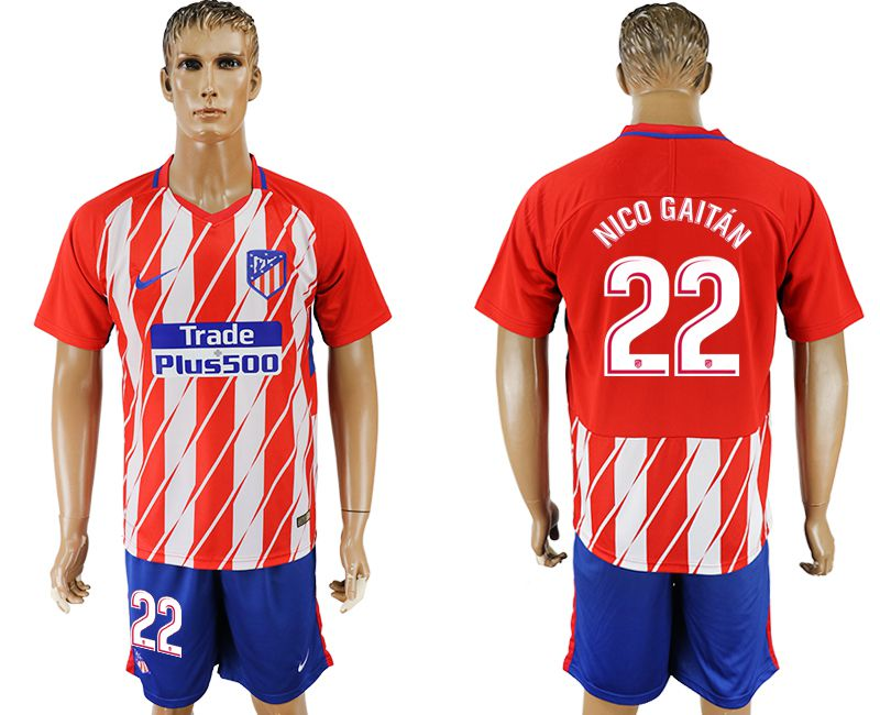 Men 2017-2018 club Atletico Madrid home 22 red soccer jersey