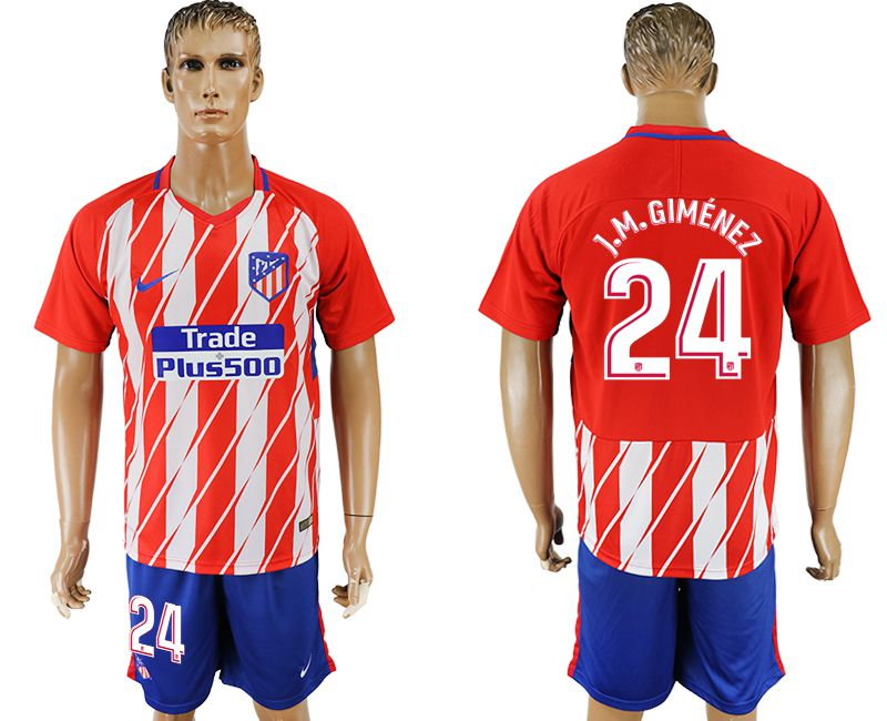 Men 2017-2018 club Atletico Madrid home 24 red soccer jersey