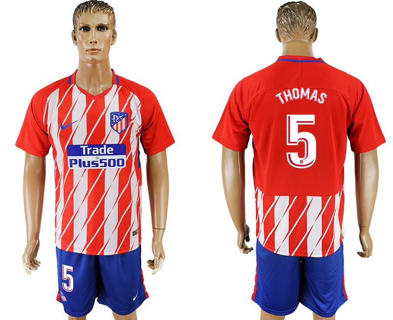 Men 2017-2018 club Atletico Madrid home 5 red soccer jersey