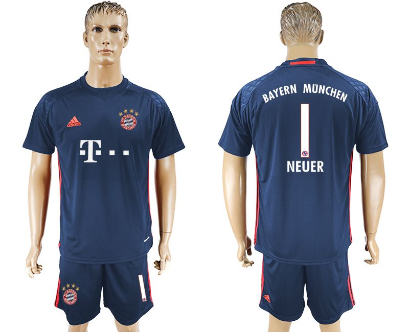 Men 2017-2018 club Bayern Munich goalkeeper 1 Dark blue soccer jersey