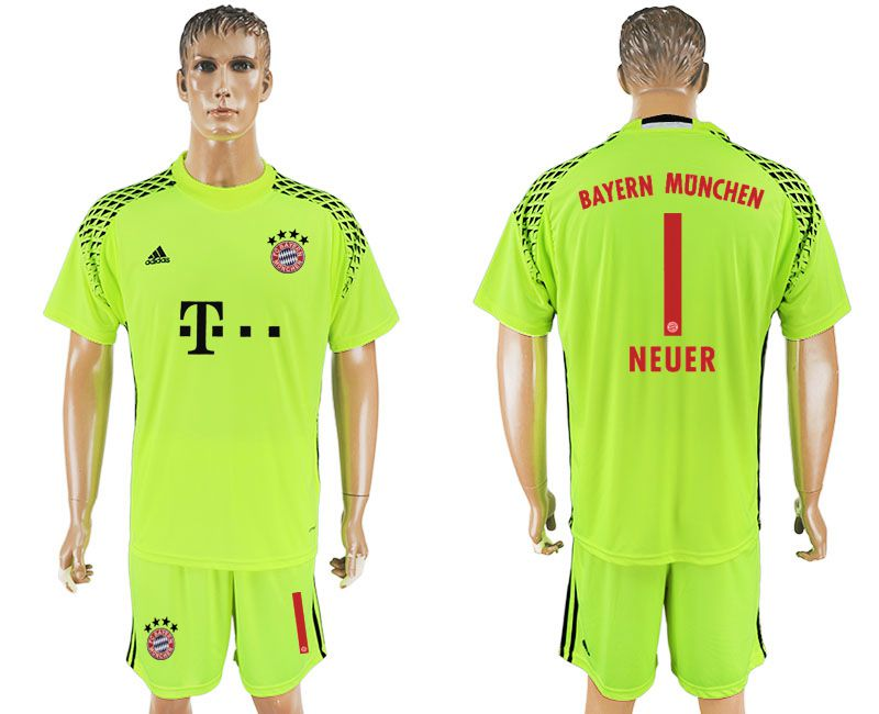 Men 2017-2018 club Bayern Munich goalkeeper 1 green soccer jersey