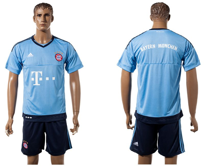 Men 2017-2018 club Bayern Munich goalkeeper blank blue soccer jersey
