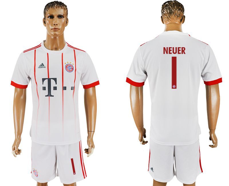 Men 2017-2018 club Bayern Munich second away 1 white soccer jersey