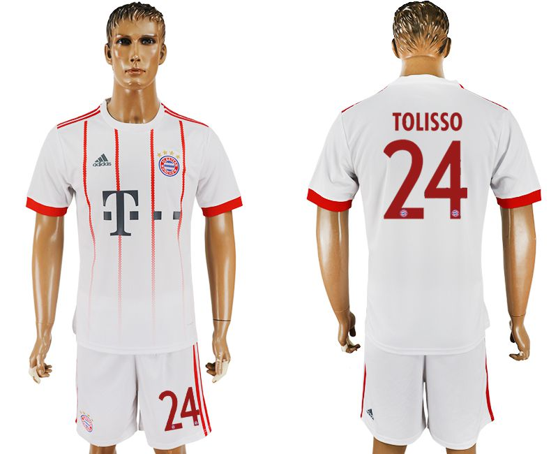 Men 2017-2018 club Bayern Munich second away 24 white soccer jersey