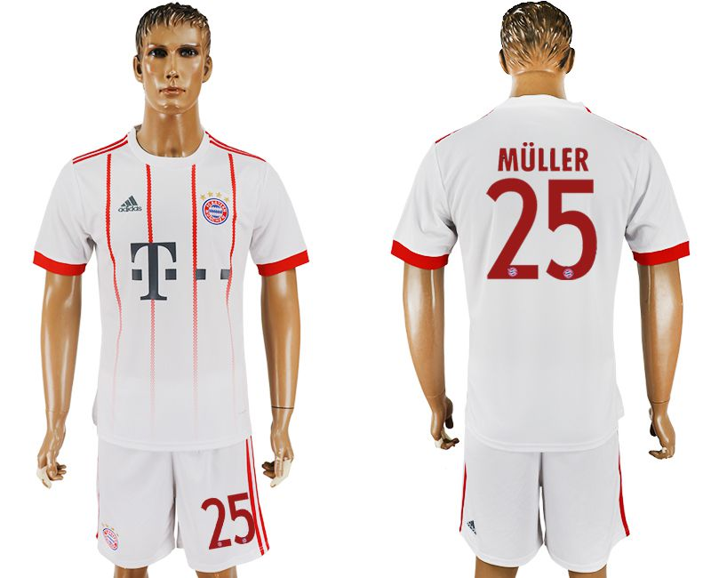 Men 2017-2018 club Bayern Munich second away 25 white soccer jersey