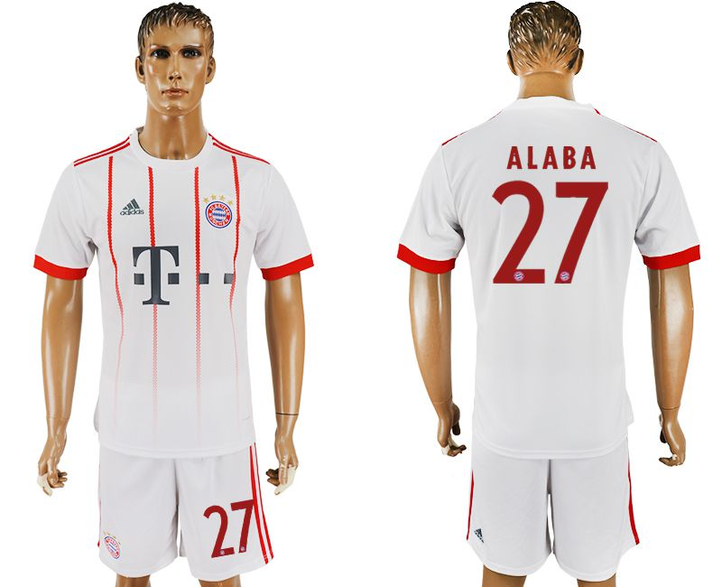 Men 2017-2018 club Bayern Munich second away 27 white soccer jersey