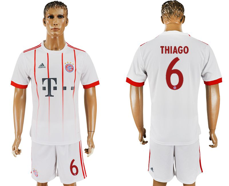 Men 2017-2018 club Bayern Munich second away 6 white soccer jersey