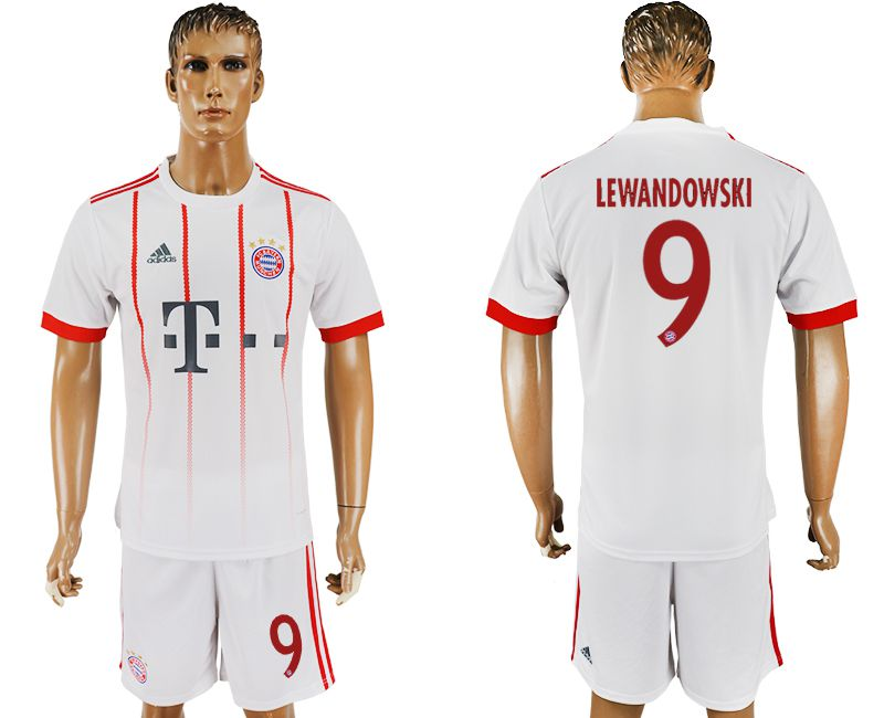 Men 2017-2018 club Bayern Munich second away 9 white soccer jersey