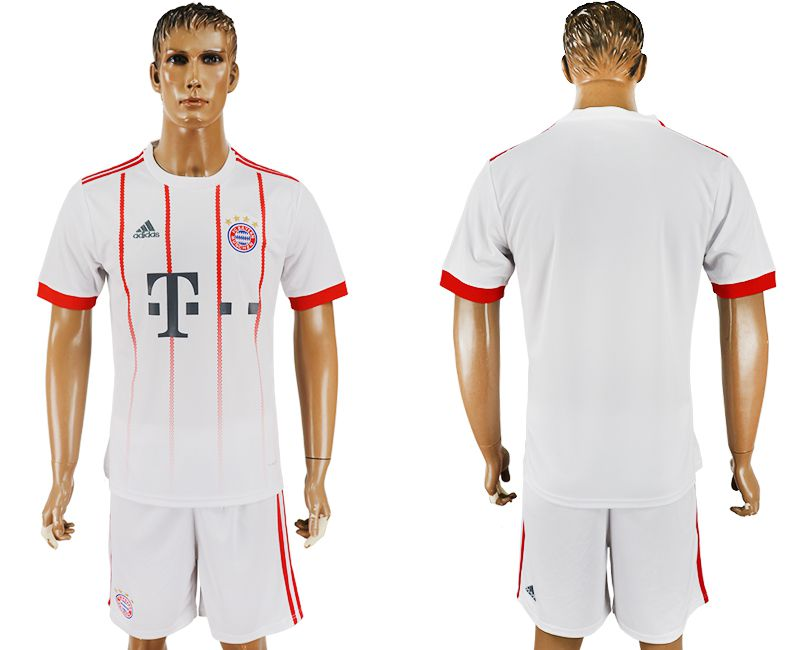Men 2017-2018 club Bayern Munich second away blank white soccer jersey