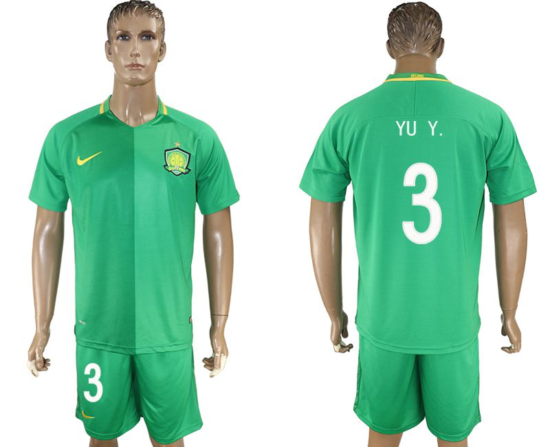 Men 2017-2018 club Beijing Guoan 3 green soccer jersey