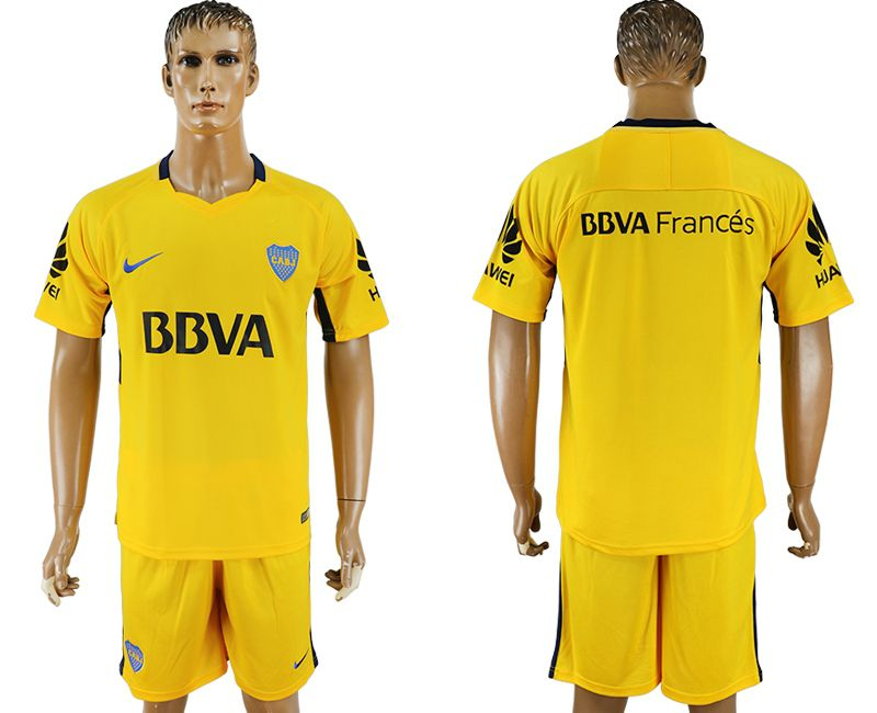 Men 2017-2018 club Boca Juniors away blank yellow soccer jersey