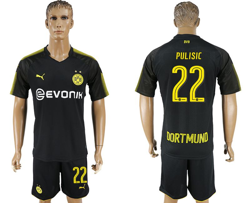 Men 2017-2018 club Dortmund away 22 black soccer jersey