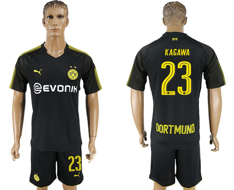 Men 2017-2018 club Dortmund away 23 black soccer jersey