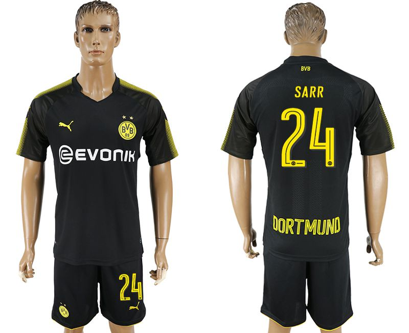 Men 2017-2018 club Dortmund away 24 black soccer jersey