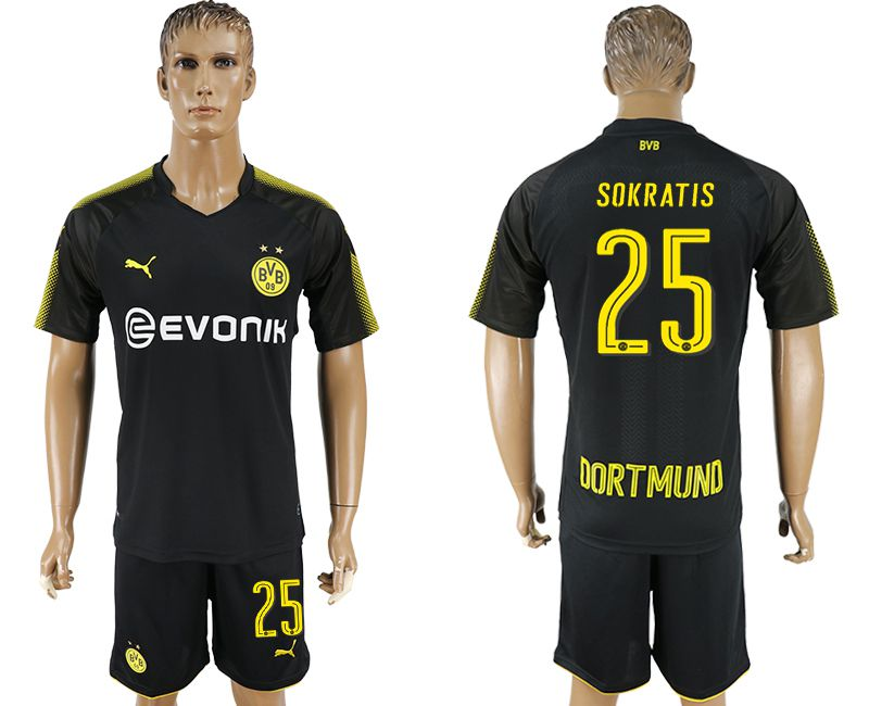 Men 2017-2018 club Dortmund away 25 black soccer jersey