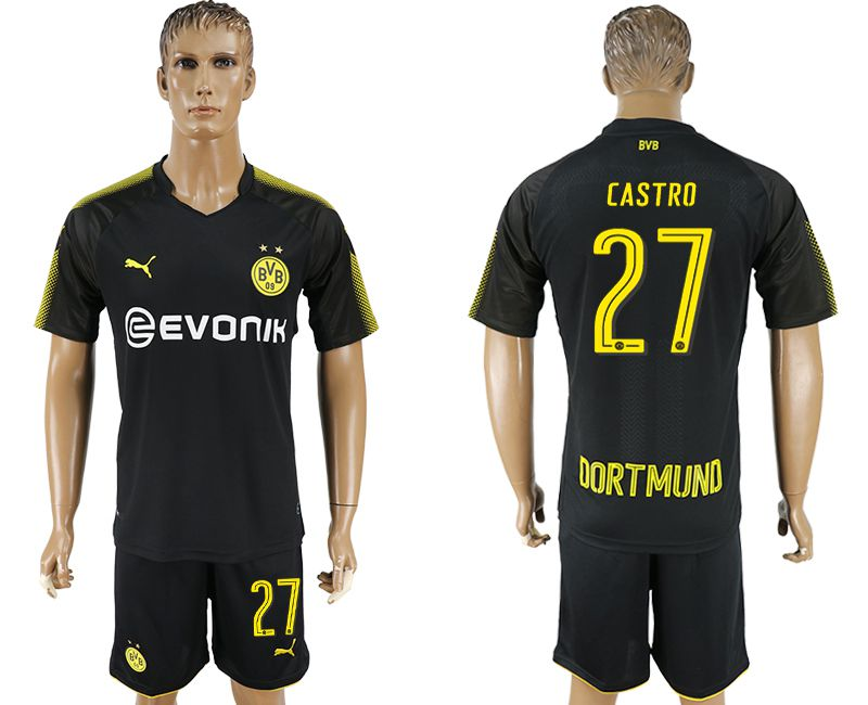 Men 2017-2018 club Dortmund away 27 black soccer jersey